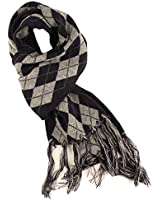 Winter Men's Argyle Diamond Plaid Warm Thick Knit Ski Long Fringe Scarf Navy