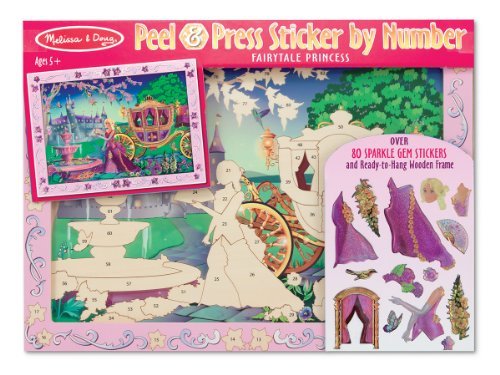 Princess Activity Kit (Melissa & Doug Peel and Press Sticker by Number Activity Kit: Fairytale Princess - 80+ Stickers, Frame)