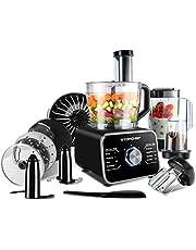 Topchef robot da cucina 1100W Robot da Cucina Compatto (con accessori inclusi: gancio per impastare, frullatore, spremiagrumi e macinacaffè), Capacità 3.5L, argento/nero