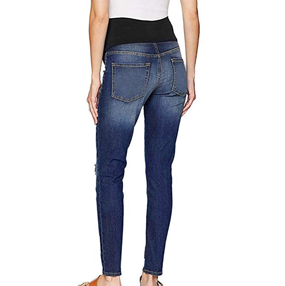 5f2d6186776ab Amazon.com: FTXJ Pregnant Woman Ripped Jeans Maternity Pants Trousers  Nursing Prop Belly Legging: Clothing