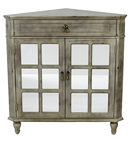 Mirror Teardrop Small (Heather Ann Creations The Vivian Collection Contemporary Style Wooden Double Door Floor Storage Living Room Corner Cabinet with Paned Glass Inserts and 1-Drawer, Grey Wash)