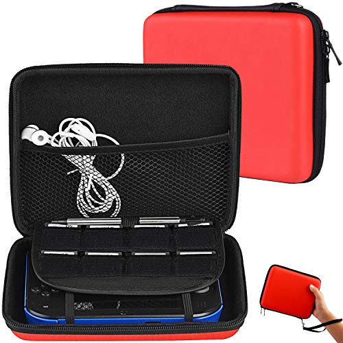 Travel Storage Carrying Case Compatible for Nintendo 2DS - Pinowu Hard EVA Storage Pouch Bag with Double Zipper, Game Holder and Wrist Strap for 2DS (Red)