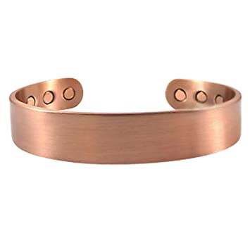 Copper Bracelets for Arthritis Magnetic with Therapy Pain Relief Magnets (Plain Copper) xayPMJzU