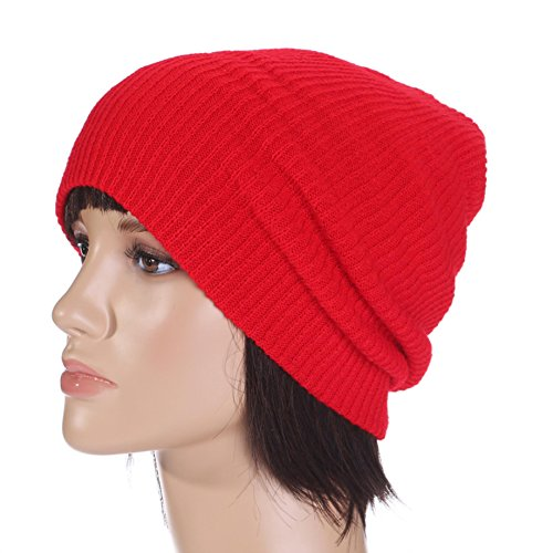 Autumn And Winter Solid Color Pinstripe Hat Men And Women Warm Wool Hat Outdoor Ski Knit Hat Big red - Pinstripe Wool Hat
