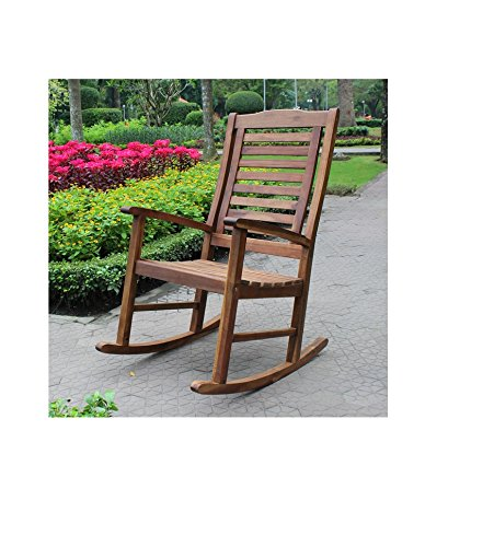 International Caravan Trinidad Acacia Oil Finish Porch Rocker Is a Terrific Wood Porch Rocker