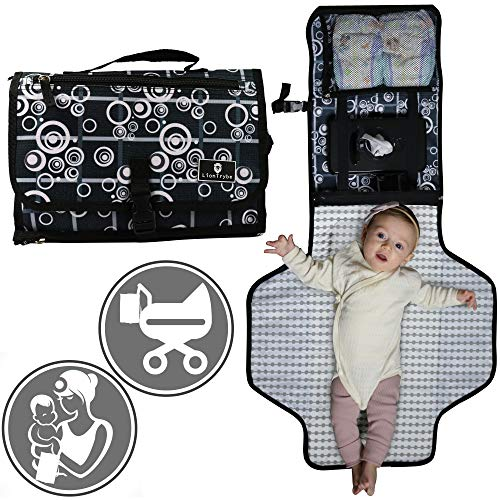 Baby Portable Diaper Changing Pad | Table Mat Station Travel Kit | Diaper Clutch Pouch Bag | Wipes Case & Items Carrier | Large Waterproof | Infant Girls & Boys | Great Newborn Gift for Baby Shower