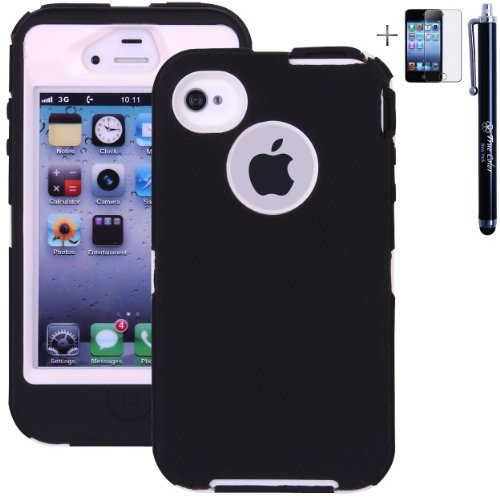 Heavy Duty High Impact Shockproof Dirtproof Hard + Soft Defender Case Cover for Apple iPhone 4 4S + Stylus + Screen Protector - Black & White