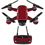 MightySkins Skin For DJI Spark Drone & Controller - Solid Burgundy | Protective, Durable, and Unique Vinyl Decal wrap cover | Easy To Apply, Remove, and Change Styles | Made in the USA