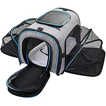 4f04a0ae18 Siivton Cat Carrier, 4 Sides Expandable Pet Carrier Airline Approved Soft  Sided Pet Travel Carrier