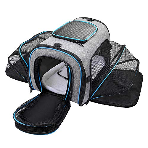 Siivton Airline Approved Pet Carrier, Soft Sided Pet Travel Carrier 4 Sides Expandable Cat Carrier with Fleece Pad for Cats, Puppy and Small Dogs