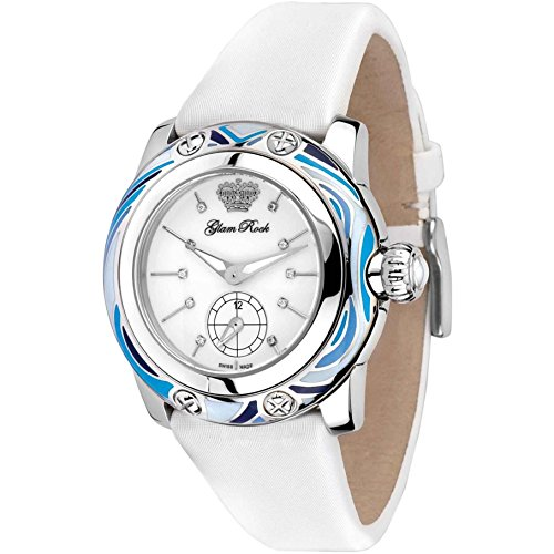 Glam Rock Women's GR40501 Palm Beach Diamond Accented White Enamel Dial White Techno Silk Watch