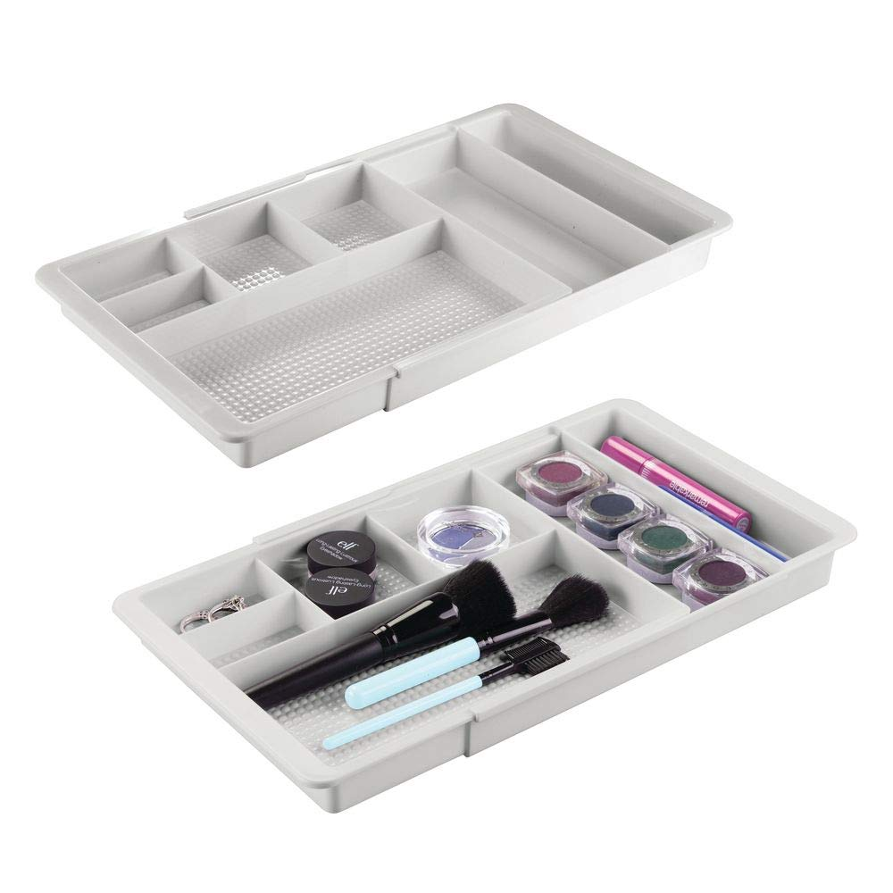 mDesign Adjustable/Expandable Plastic Drawer Organizer Tray for Bathroom Vanity, Countertop for Makeup Brushes, Eye Shadow Palettes, Lipstick, Gloss - 7 Compartments - 2 Pack - Light Gray