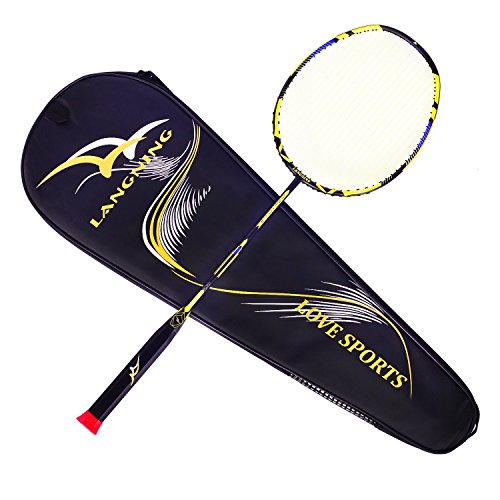 LANGNING Badminton Racquet Light Racket Set Carbon Fiber 7u Best Tournament Single Shuttle Bat Carrying Bag – 68g – DiZiSports Store