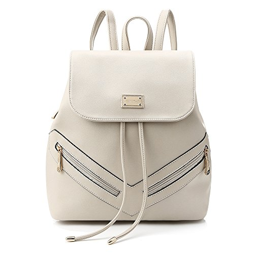 YsinoBear Women's Leather Backpack Teenage Girls College Student Casual Bag Purse Shoulders Bag Travel Bag Daypack (Beige) Backpack Style Handbag