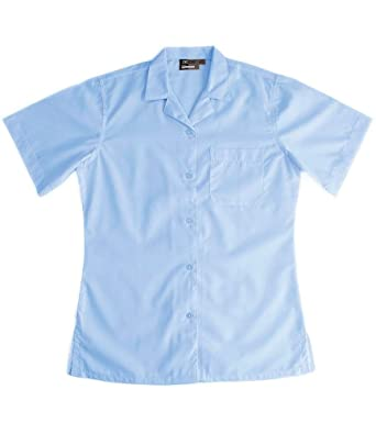 525a61eb Quality Girls Generous Fit School Blouses. Revere Collar, White or Blue.  Long, short or 3/4 Length Sleeve: Amazon.co.uk: Clothing