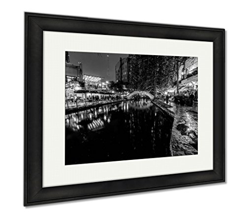 Ashley Framed Prints The Riverwalk At San Antonio Texas At Night, Wall Art Home Decoration, Black/White, 26x30 (frame size), Black Frame, - Shops San Riverwalk Antonio