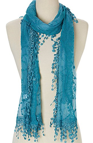 Womens Fashion Scarf (Cindy and Wendy Lightweight Soft Leaf Lace Fringes Scarf shawl for Women (Blue))