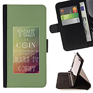 DEVIL CASE - FOR HTC DESIRE 816 - Time Coin Make Count Inspiring Poster - Style PU Leather Case Wallet Flip Stand Flap Closure Cover