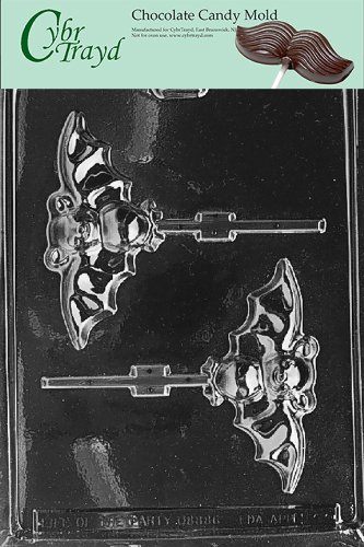 Cybrtrayd Life of the Party H021 Halloween Bat Lolly Chocolate Candy Mold in Sealed Protective Poly Bag Imprinted with Copyrighted Cybrtrayd Molding Instructions -