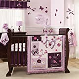 Lambs & Ivy 7-Piece Crib Bedding Set, Plumberry