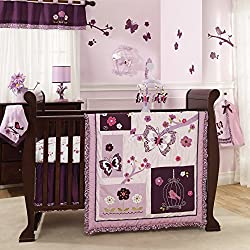 Lambs & Ivy Plumberry Girl's 7-Piece Crib Bedding Set
