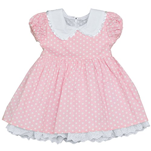 Cute Cap Sleeve Pink Polka Dot Dress with Lace Ruffle Cuff (12 Months)
