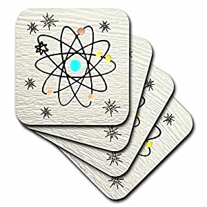 Lee Hiller Designs 50s Retro Print - Retro 50s Atomic Print on White - set of 8 Coasters - Soft (cst_44455_2)