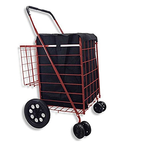 Double Basket Flat Folding Shopping Cart with Swivel Wheels for Laundry Grocery Shopping (Red Cart with Black Liner)