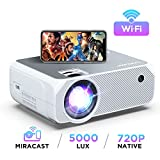 Bomaker Wi-Fi Mini Projector, Upgraded 5000 Lux, Portable HDMI Projector, Full HD 1080P Supported, Wireless Screen Mirroring and Miracast, for Android/ iOS / Laptops/ PCs/ Window- White