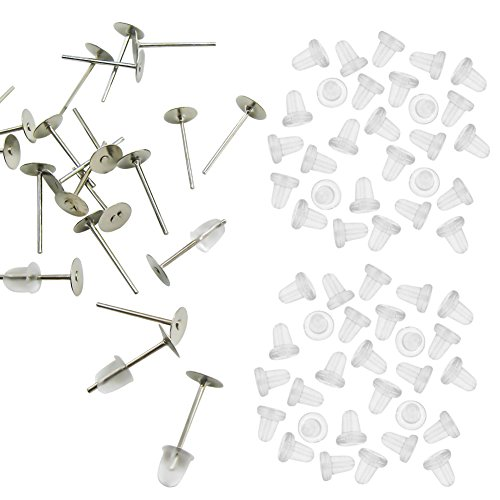 TOAOB 100 Stainless Steel 5mm Flat Pad Earring Finding Plus 100 Rubber Earnut Stoppers (Earnut Earring Posts)