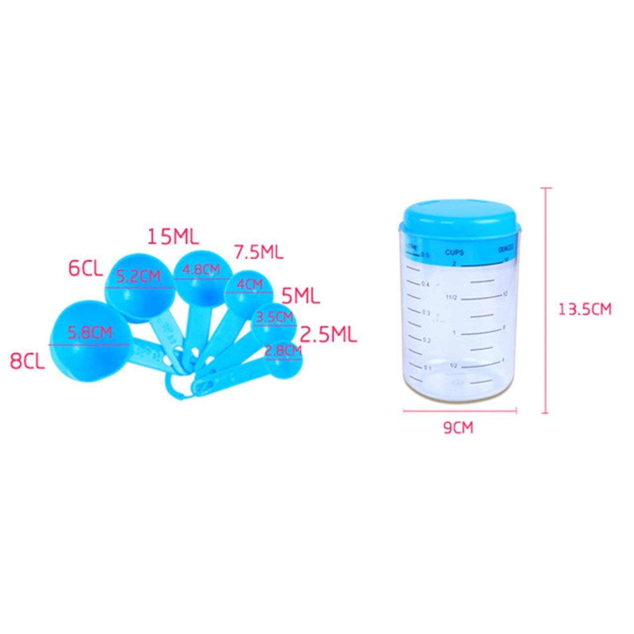 7Pcs//Set Plastic Baking Utensil Portable Kitchen Measuring Cups Sugar Cake Baking Spoon Household Measuring Scoop Blue Jasnyfall