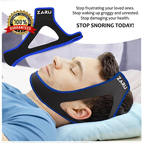 Premium Anti Snore Chin Strap by ZARU (2018 New Version) - Advanced Snoring Solution Scientifically Designed to Stop Snoring Naturally and Give You The Best Sleep of Your Life! (.Blue) by ZARU