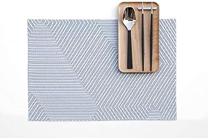 Harman Metallic Dust PVC Faux Leather Placemat 13 X 18 Silver