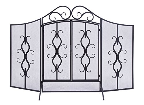 Deco 79 Metal Fire Screen, 60 by (Fireplace Screens Candles)