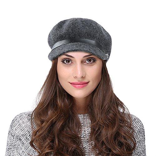 Vbiger Women Woolen Fedora Newboys Hat Visor Beret (Dark Grey) by VBIGER