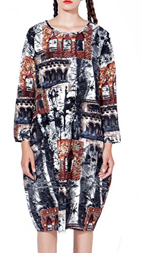ELLAZHU Women Casual Long Sleeves Floral Print Pockets Crewneck Splice Dress SZ356 (Cheap Fancy Dress Websites)