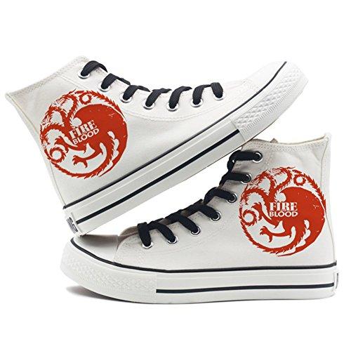 toile feu Sneakers glace et of Noir Chaussures sur de une Chaussures Game blanc chanson Thrones vx0YYn