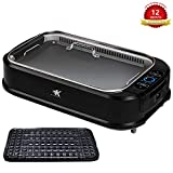 KCZAZY Electric Smokeless Grill with Glass Lid, Indoor and Outdoor Use, Portable BBQ Grilling & Searing, Grill Grate and Griddle Plate Removable, Dishwasher Safe (VIP Support) Gift Box