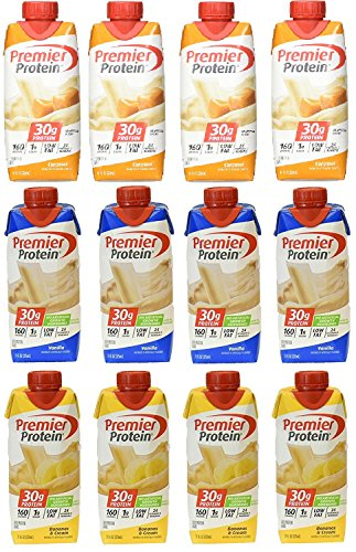 Lot of 12 Premier Protein 30g High Protein Shakes 11 Oz. Variety Pack Contains Caramel, Vanilla and Banana