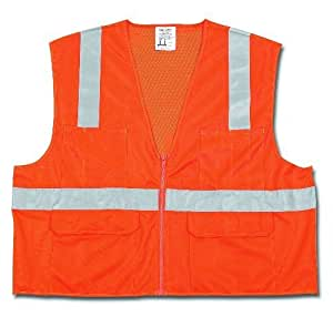 MCR Safety CL2OCXL Class 2 Polyester Mesh Safety Vest with 2-Inch Silver Stripe, Fluorescent Orange, X-Large by MCR Safety