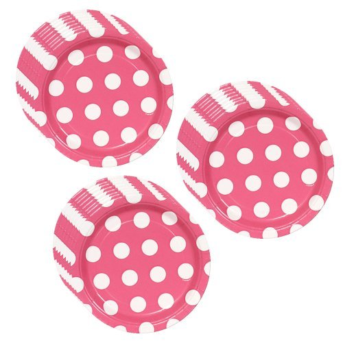 1 X Hot Pink Polka Dot Party Dessert Plates - 24 Guests by Unique -