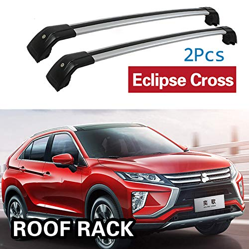 2Pcs Roof Bars for Mitsubishi Eclipse Cross SUV 2018+ Aluminum Alloy Side Bars Cross Rails Roof Rack Luggage Carrier (Rack Mitsubishi Eclipse Roof)