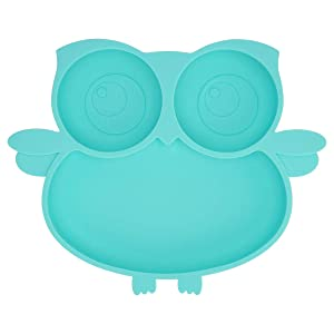 Kirecoo Owl Silicone Suction Plate - Self Feeding Training Storage Divided Plate, Baby Toddler Bowl and Dish, Fits for Most Hairchairs Trays, Microwave Dishwasher Safe (Sky Blue)