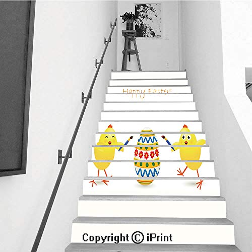 (Stair Stickers Wall Stickers,13 PCS Self-Adhesive,Stair Riser Decal for Living Room, Hall, Kids Room,Easter Egg and Two Chicken)