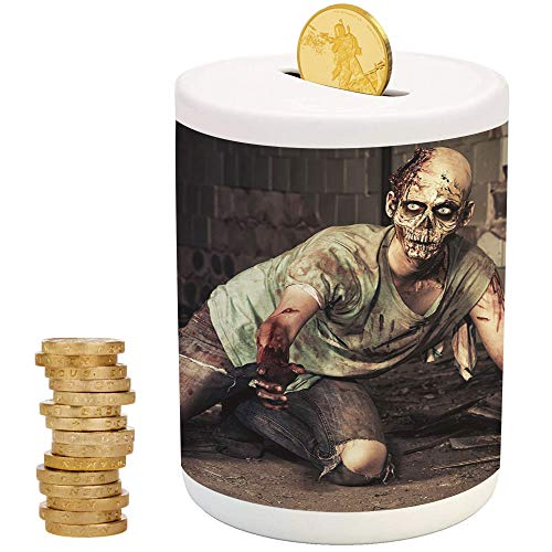 Zombie Decor,Ceramic Girl Bank,Printed Ceramic Coin Bank Money Box for Cash Saving,Halloween Scary Dead Man in Old Building with Bloody Head Nightmare Theme