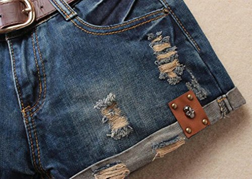 Fensajomon Womens Summer Ripped Distressed Low Waist Club Rivet Denim Shorts Jeans Hot Pants