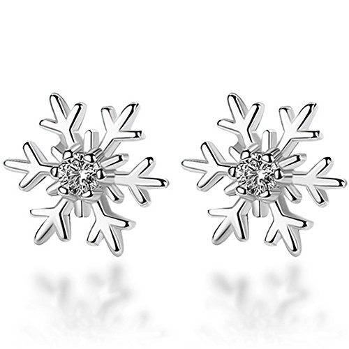 silver earrings 925 ladies_ women's earrings silver 925_ snowflake earrings silver_ crystal earrings wedding_ ladies jewelry