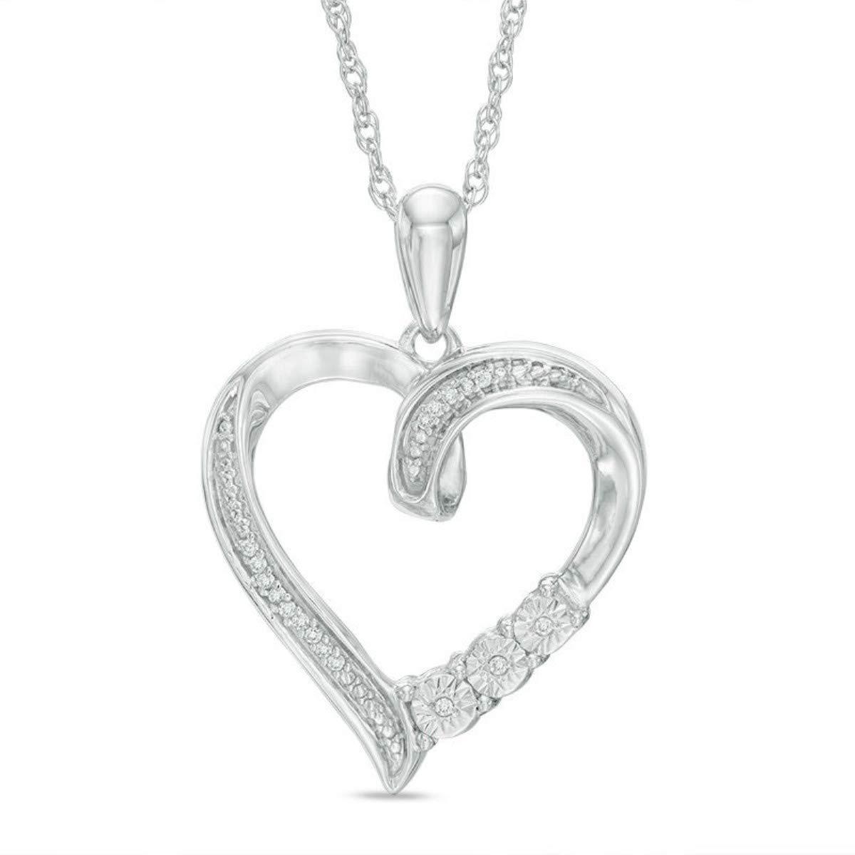 TrioStar Round Diamond 14K White Gold Fn Love Heart Pendant Valentine Gift for Her