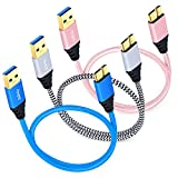 Besgoods 3-Pack 1.5ft Short Braided Micro USB 3.0 Cable – USB Type A to Micro B Fast Charger Cable With Gold-plated Connectors for Samsung Galaxy S5, Note 3, Hard Drive - Blue White Pink