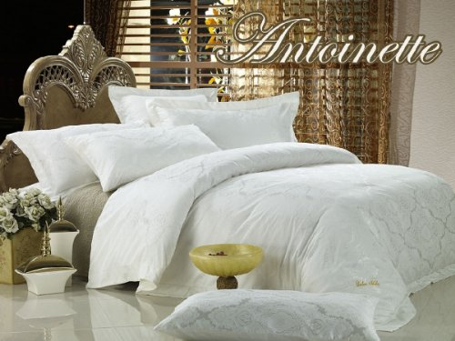 Dolce Mela DM446Q Antoinette 6-Piece Percale Jacquard Cotton Duvet Cover Set, Queen (Antoinette Duvet Cover)